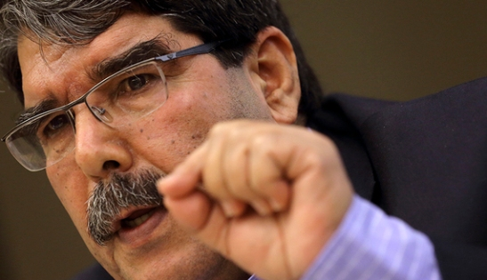 Kurdish Democratic Union Party head Salih Muslim speaks during a conference in Paris, Nov. 13, 2013. (photo by REUTERS/Philippe Wojazer)