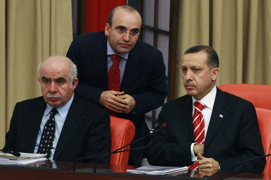 Turkish Prime Minister Recep Tayyip Erdogan, right, with two of his ministers