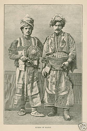 Hazon Kurds 1894 Antique/ Israel - Print art Kurdish men with weapons