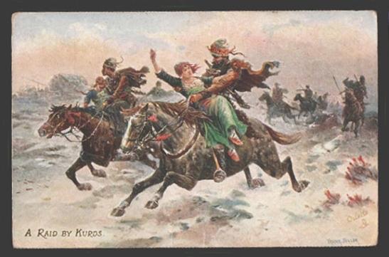 Age: Vintage original old photo postcard (1898) Series# Life in Russia (Caucasus) II Caption: A raid by Kurds