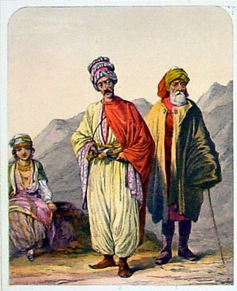 This beautifully coloured original antique lithograph print of the Kurdish peoples was published by Blackie & Son of Glasgow in the 1880 edition of Geographical Atlas. (Ref: Tooley; M&B)
