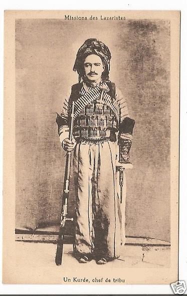 Kurdish chief - Ethnic mission postcard - Un Kurde chef de tribu - Missions des Lazaristes Sepia Postcard