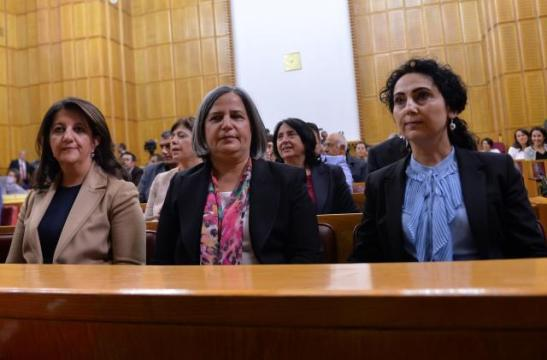 Diyarbakir Mayor Gultan Kisanak is seen with co-chair of the pro-Kurdish Peoples' Democratic Party (HDP) Figen Yuksekdag (R) and lawmaker Pervin Buldan (L) during a party meeting at the Turkish Parliament in Ankara, Turkey, October 25, 2016. REUTERS/Stringer