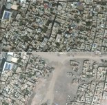Top, a satellite photo taken on June 22, 2015, and under it, the same location on July 26, 2016, showing the destruction by Turkish security forces of part of Sur, a district in the city of Diyarbakir, in southeastern Turkey. Credit DigitalGlobe/UNOSAT, via Associated Press